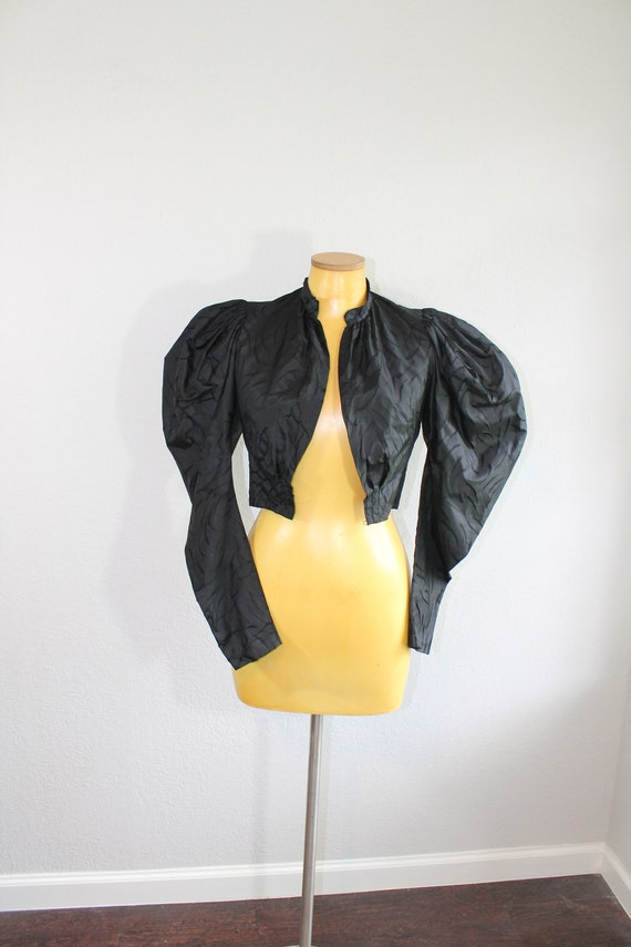 1900s Edwardian Black Puffed Sleeve Blouse // XXS