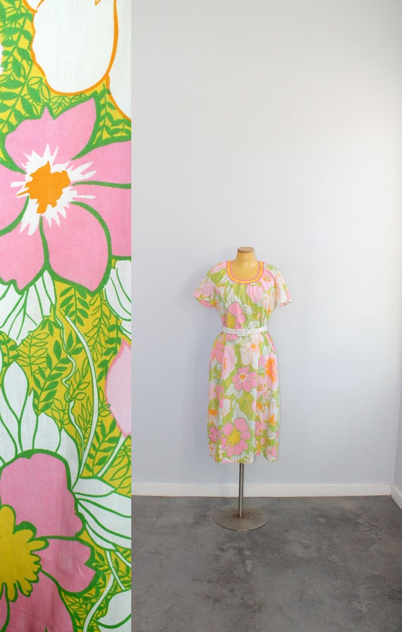 1960s Tanner Floral Day Dress // Large