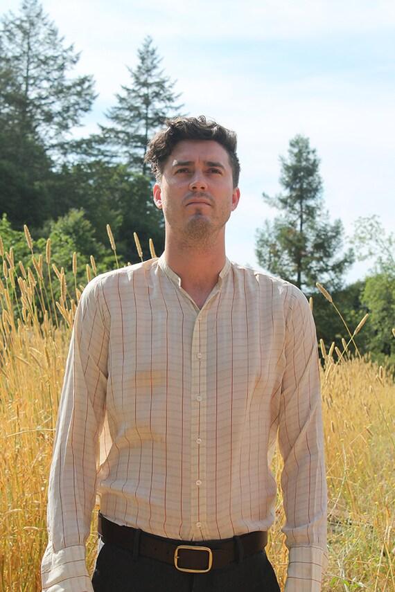da009751 1920's Mens Silk Dress Shirt Button Up // Medium