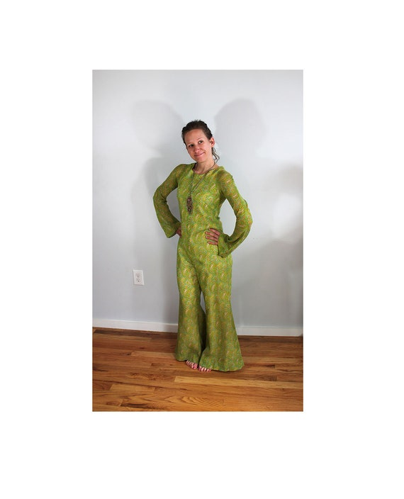1960s Psychedelic Green Jumpsuit // Count Down //