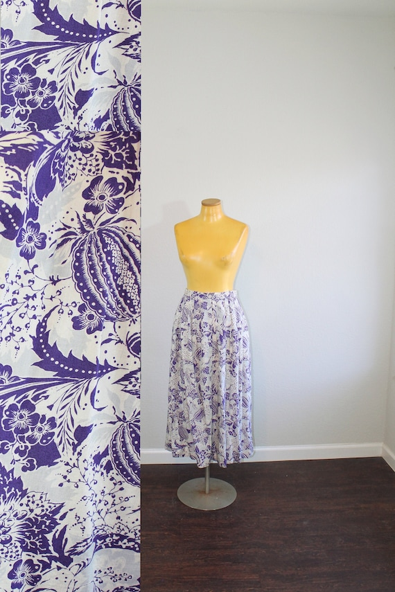 1990s Purple Japanese Bitter Melon Pleated Skirt // Small