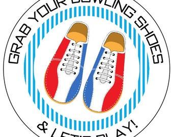 94099db14bfa20 Bowling des autocollants de fête, autocollants de chaussures de bowling,  étiquettes personnalisées bowling, bowling rétro chaussures autocollants,  rouge et ...