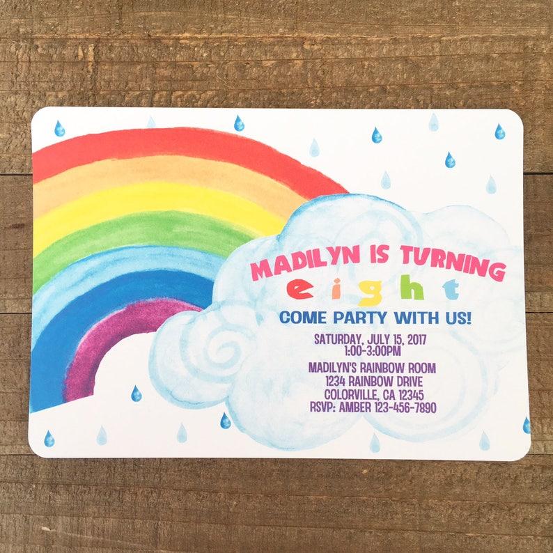 Printable Rainbow Birthday Invitation Party Invite