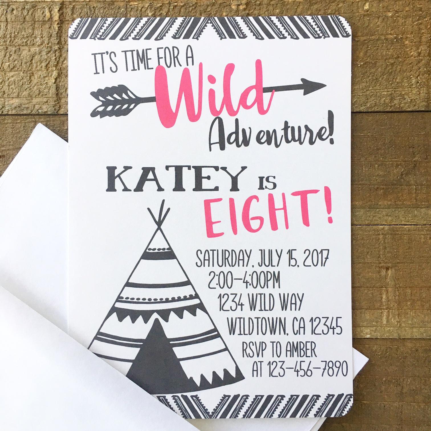 12 adventure birthday invitations girl wild adventure party | Etsy