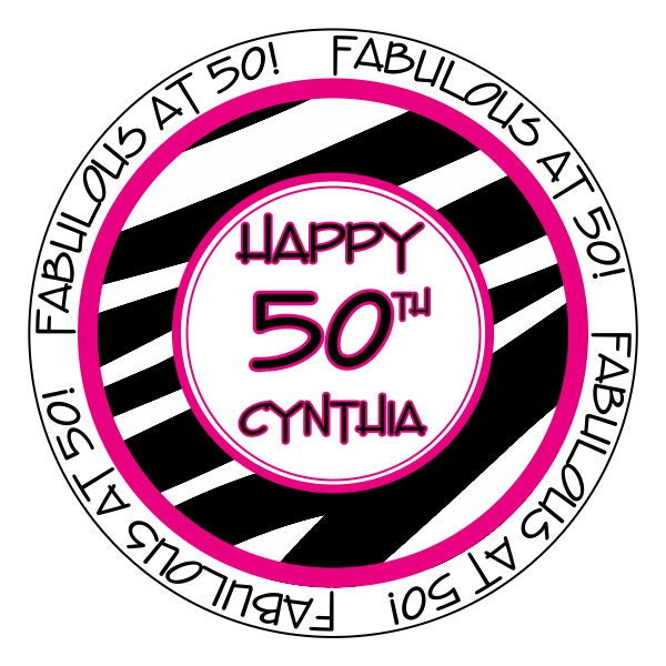 50th And Fab: 50th Birthday Stickers Fabulous At 50 Stickers Pink And