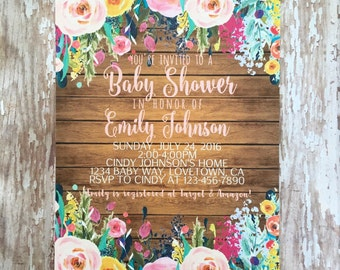 printable watercolor floral baby shower invitations, digital flower wood baby shower invites, watercolor flower baby shower