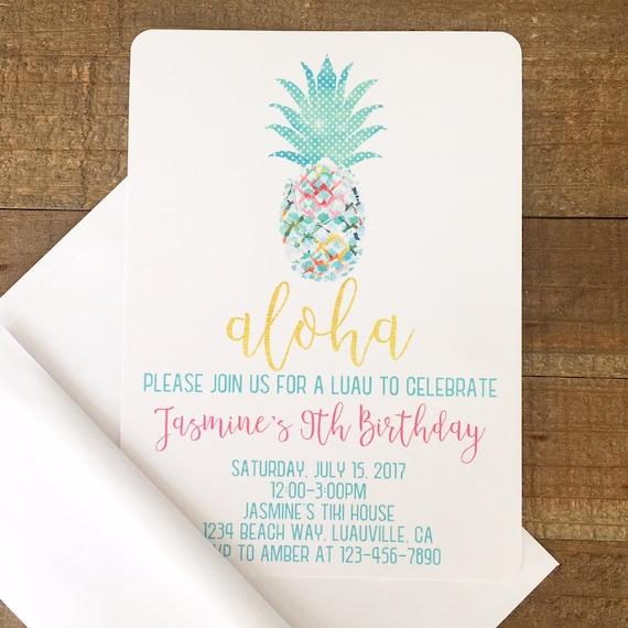 12 pineapple birthday invitations watercolor pineapple invite with envelopes watercolor pineapple party invites girl hawaiian invitations