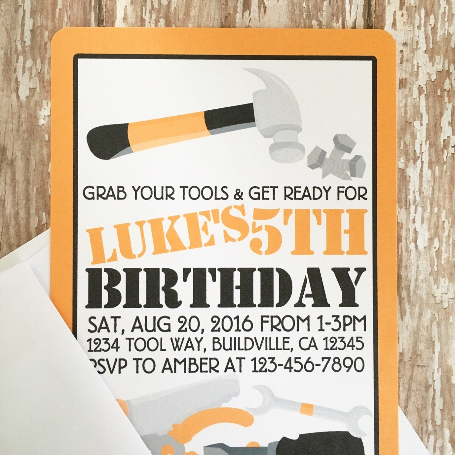 12 tool party invitations with envelopes tool birthday party | Etsy