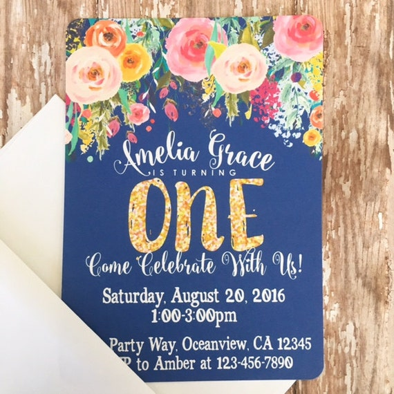 12 Floral First Birthday Invitations Printed Navy 1st