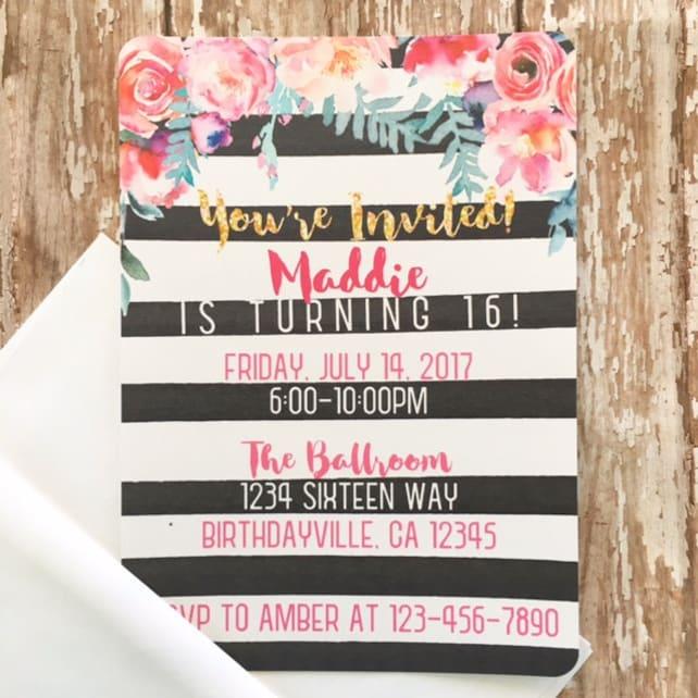 12 Sweet 16 Floral Birthday Invitations Custom Striped Party Invites Watercolor Flower Invitation 16th Invite