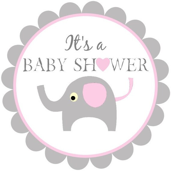 Printable Baby Shower Tags Baby Elephant Labels Pink And Etsy