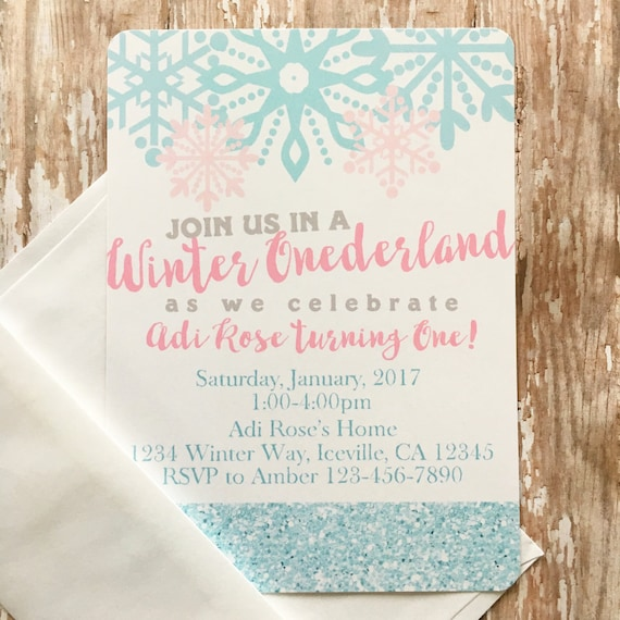 12 Winter Onederland Invitation First Birthday Invite