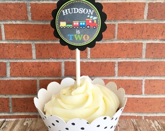 12 train birthday cupcake toppers, train party toppers, custom choo choo train birthday toppers, boy birthday toppers