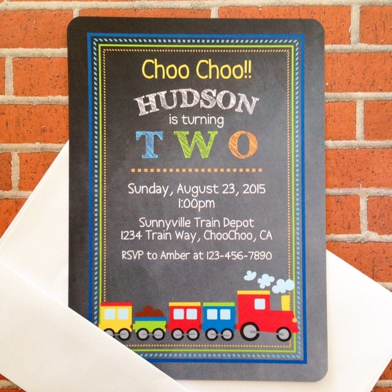 12 Train Birthday Invitations With Envelopes 2nd Invites Second Party Printed Chalkboard Invitation