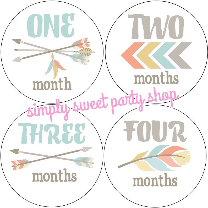 image about Baby Month Stickers Printable named printable tribal youngster thirty day period stickers, little one boy arrow thirty day period stickers, blue tribal little one thirty day period stickers, Prompt Obtain