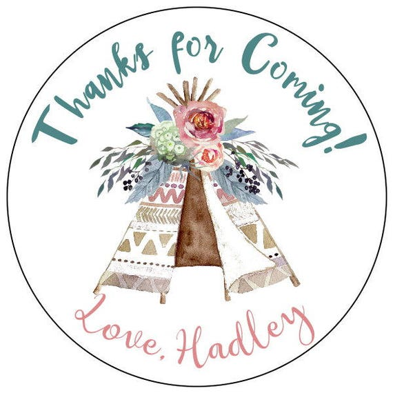 Set of 50 Birthday Baby Wedding Party Favors Pink Tribal Tee Pee Wild Thank You Sticker Labels