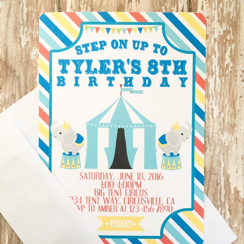 12 Carnival Birthday Invitations With Envelopes Circus