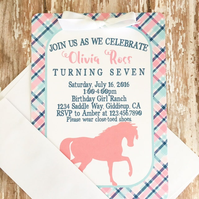 12 Horse Birthday Invitations With Envelopes Pink And Blue Horse
