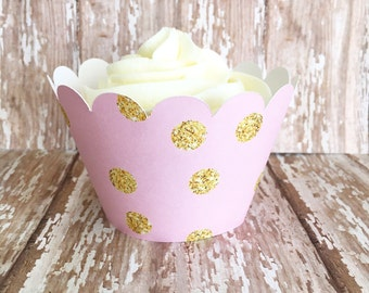 pink and gold polka dot cupcake wrappers - gold and pink cupcake wrappers - wedding cupcake wrappers - set of 24