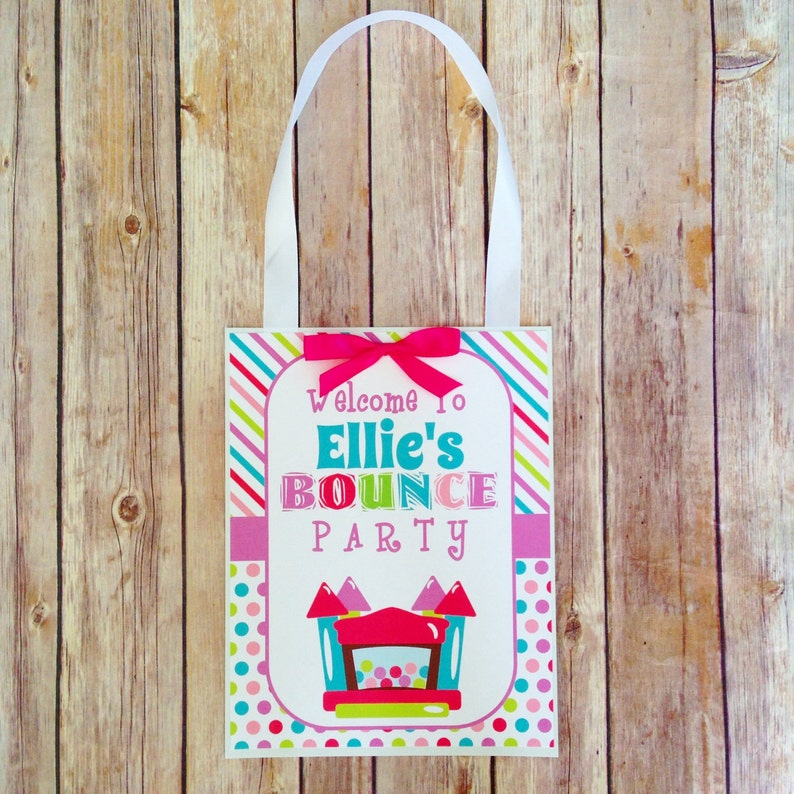 bounce party door sign custom digital polka dot party sign personalized welcome bounce party birthday sign