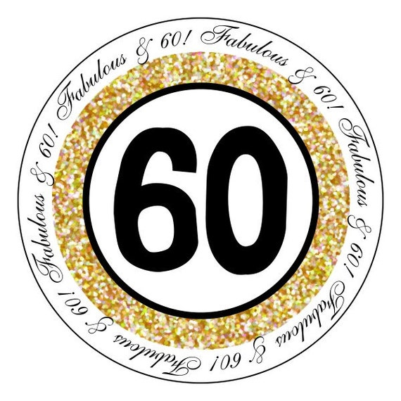60th birthday stickers gold and black party stickers etsy