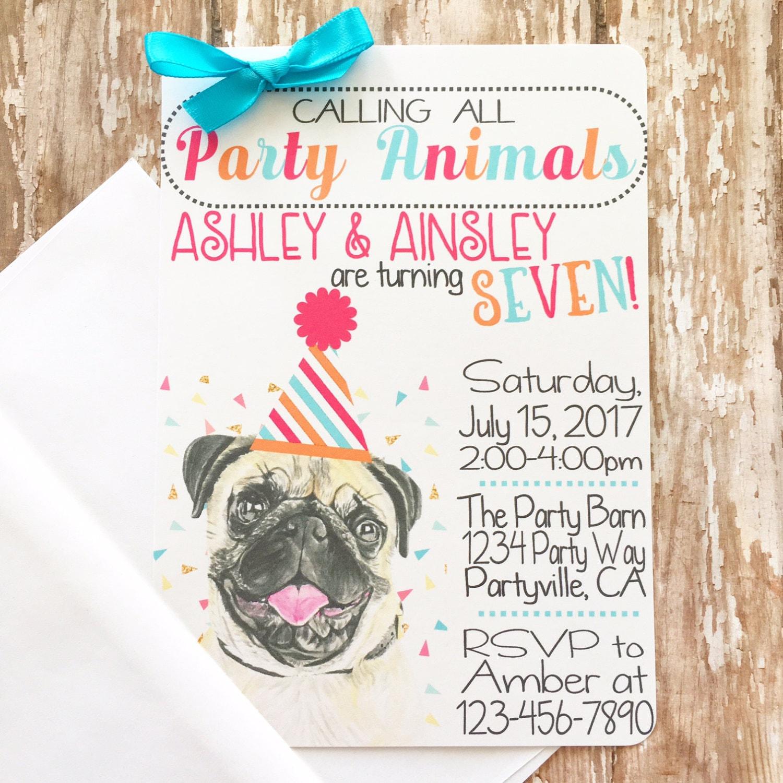 12 party animal invitations girl pug puppy birthday invites | Etsy