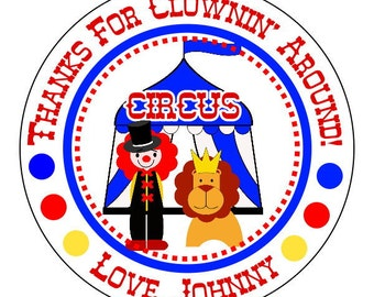 carnival birthday stickers, custom circus stickers, carnival party supplies, 3 sizes available