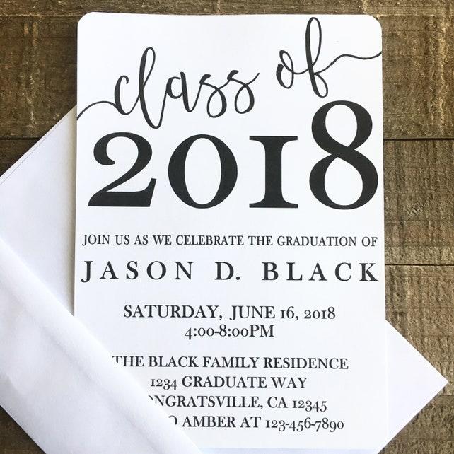 12 Graduation Party Invitations Printed Graduation Invites Black
