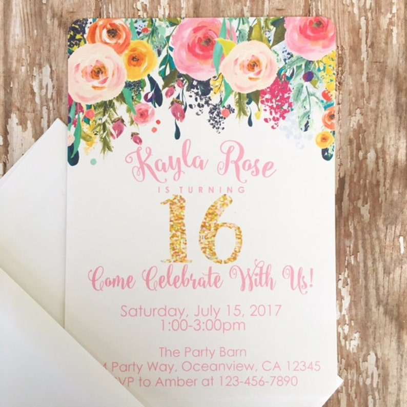 12 Floral Sweet 16 Birthday Invitations Printed 16th Birthday Etsy