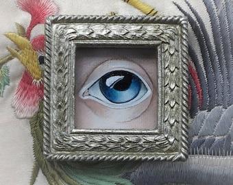 Blue Lover's Eye II, Original Painting Brooch.