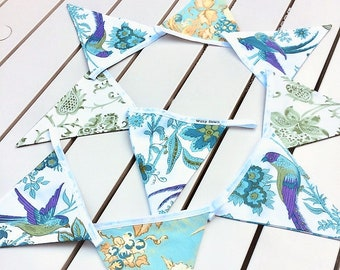 Cottage Style Bird Flower Bunting in Turquoise Purple Vintage Fabric