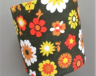 Abstract  Hippy Funky Flower Power 60s 70s Vintage Fabric Lampshade