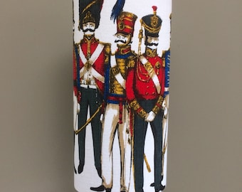 ONE ONLY - MidCentury Napoleonic Soldiers Heals 60s Barkcloth TALL Slim Oval Lampshade
