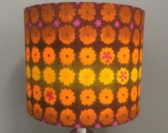 RETRO MOD Orange Brown Floral Lampshades in 60s 70s Vintage Fabric
