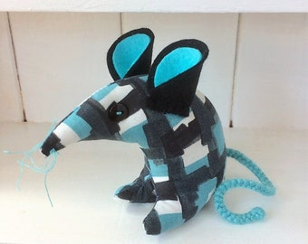 Funky Blue Geo Geoff Retro Mouse abstract 50s 60s vintage fabric