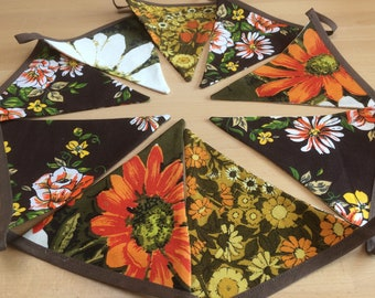 Funky Retro Bunting featuring Brown Orange Daisy Vintage Fabric