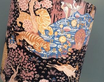 Animal Kingdom Exotic Leopard Deer Black Gold Blue Vintage Fabric Lampshade