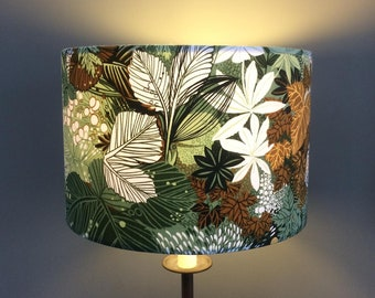 LAMPSHADE in Green Mustard Leaf Lyndhurst by Grafton 70s  Vintage Fabric