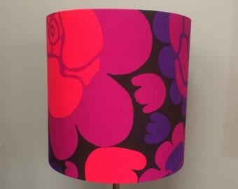Bold Flower Power Rapsodi Lampshade in a fabulous Brown Purple Pink BORAS Vintage Fabric