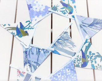 Cottage Style Bird Flower Bunting in Lilac Blue Vintage Fabric