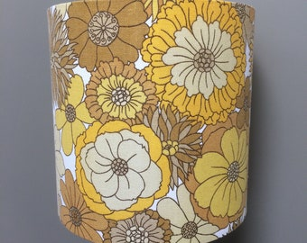 Yellow and Brown Flower Power Lampshades In 70s M&S  Vintage  Fabric