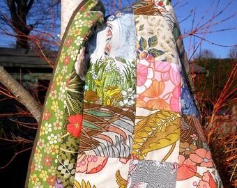 Vintage Fabric Patchwork Lap or Cot Quilt
