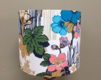 Lovely Pink and Blue RETRO Anemone Flower Lampshade in 60s 70s Barkcloth Vintage fabric ( one is on SALE)