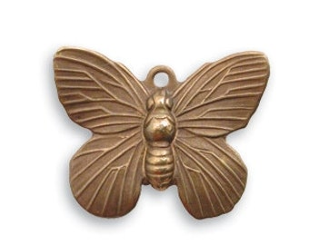Vintaj Antiqued Brass Ox Butterfly Charm Patina Jewelry Making Supplies Insect Moth Nature 19 x 15mm Qty 1