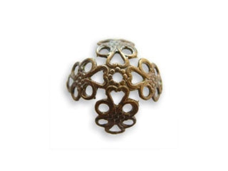 Vintaj Antiqued Brass Ox Filigree Open Work Bead Cap Vintage Style Beadcap 16mm Qty 6