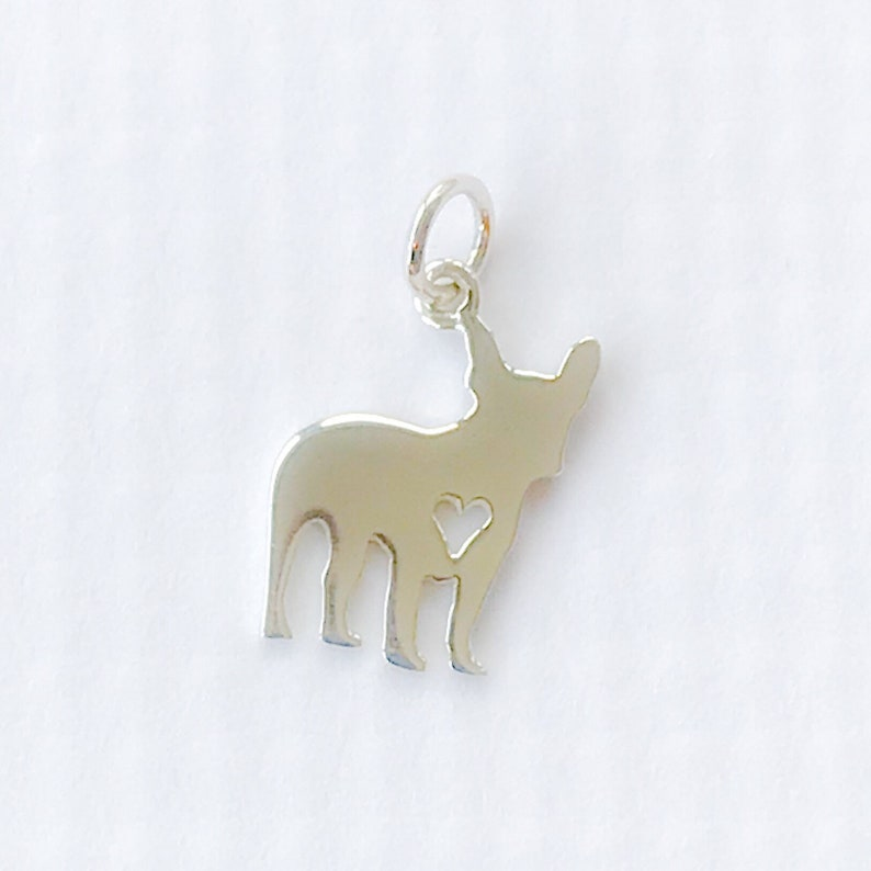 Small Sterling Silver French Bulldog Dog Charm Frenchie Bully Breed Open Heart Pet Dog Lover Animal Puppy Rescue Silhouette 12 Inch Qty 1