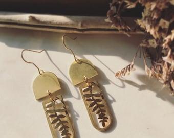 Geometric Brass Fern Earrings // Botanical Jewelry, Geometric Brass Earrings, Arch Drop Earrings, Leaf Earrings, Brass Statement Earrings,