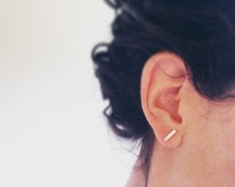 Bar Earrings // Minimalist Earrings  Sterling Silver Bar Earrings Simple Stud Earrings Line Earrings Everyday Earrings Staple Earrings