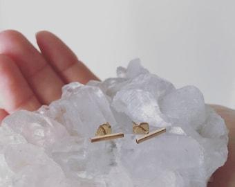 Gold Bar Earrings // Bar Stud Earrings, Gold Earrings, 14k Gold Plated Earrings, Staple Earrings, Gift for Her, Under 30, Gifts for Mom