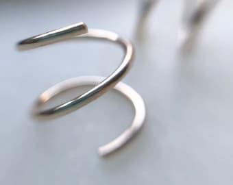 Spiral Earrings // Double Piercing, Single Piercing Spiral Earrings, Sterling Silver Twist Earrings, Faux Double Hoops, Silver Hoop Twists